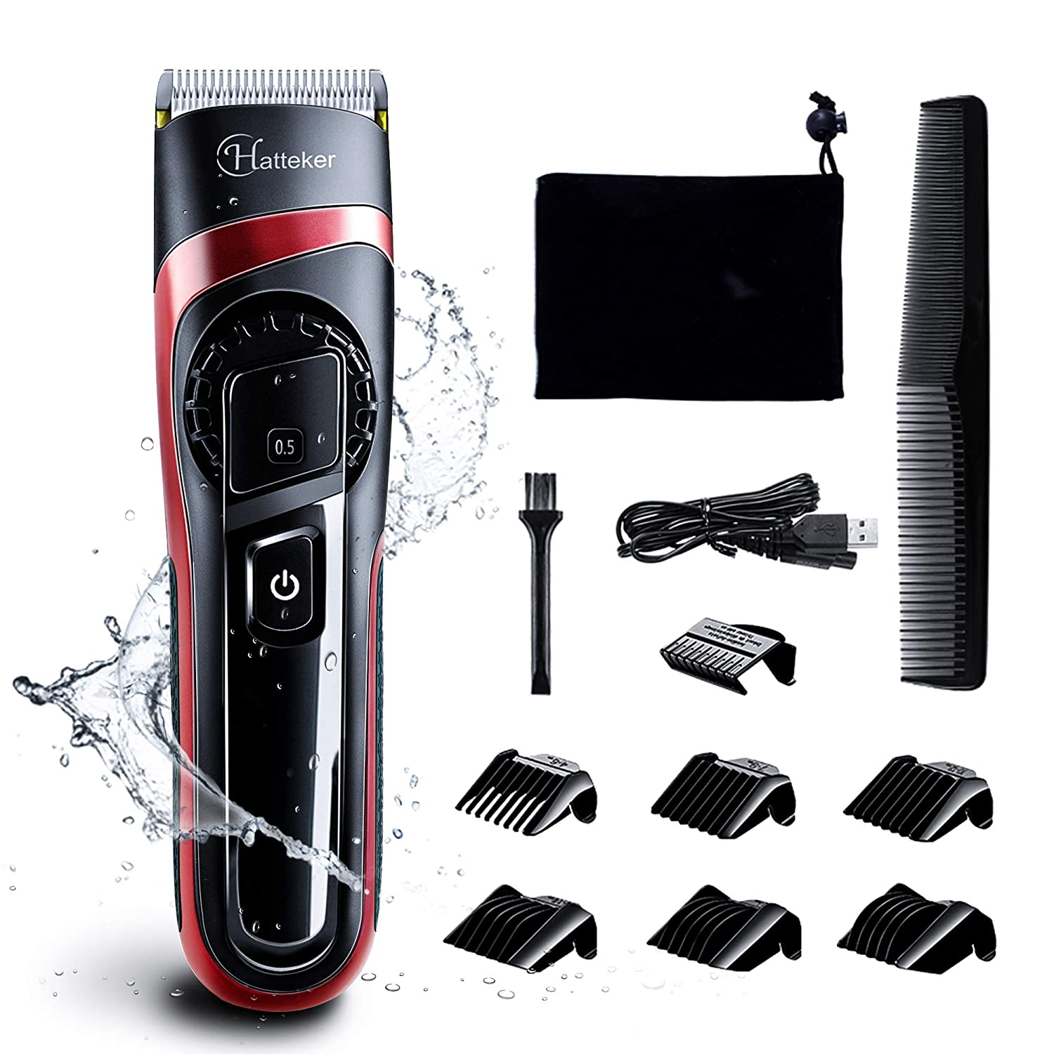 HATTEKER Hair Clippers for Men Cordless Hair Trimmer Professional Men's Beard Trimmer Waterproof Hair Cutting Kit with Fine Adjustment Wet/Dry