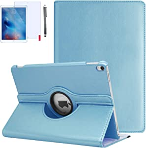 iPad 9.7 Case 2018, iPad 6th Generation Cases 2018/2017 (6th,5th) 360 Degree Rotating Stand Protective Hard-Cover Folding Case with Auto Wake/Sleep Feature (Baby Blue)