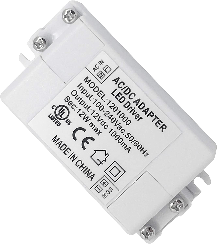 Adaptador LED VARICART IP44 12V 1A 12W, Fuente de Alimentación Conmutada Regulación Universal AC DC, Transformador Constante Voltaje, Cámara CCTV, Tira de Luz, G4 MR11 MR16 GU5.3 Bombilla (Pack de 1)