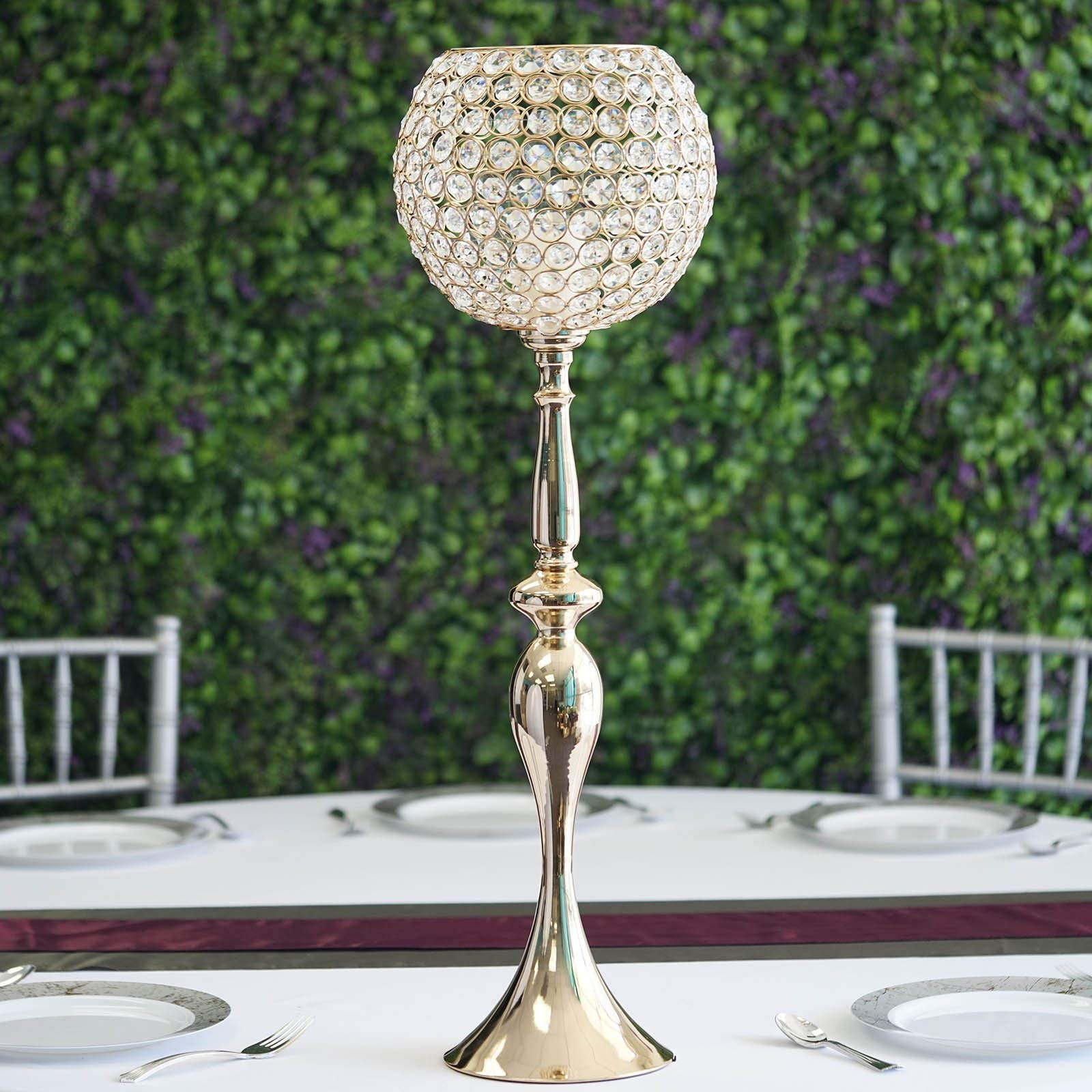 Tableclothsfactory 30'' Gold Acrylic Crystal Goblet Candle Holder Flower Ball Centerpiece for Wedding Events Decoration