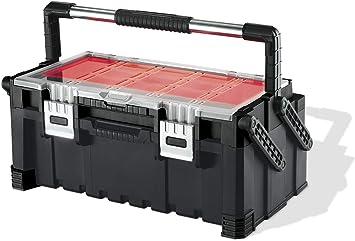 Keter 17187311 - Caja de herramientas (plástico), color negro y rojo ...
