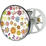 Waschbeckenstöpsel Design Sommerblüten | Abfluss-Stopfen aus Metall | Excenterstopfen | Abflussstöpsel | 38 – 40 mm | Stöpsel