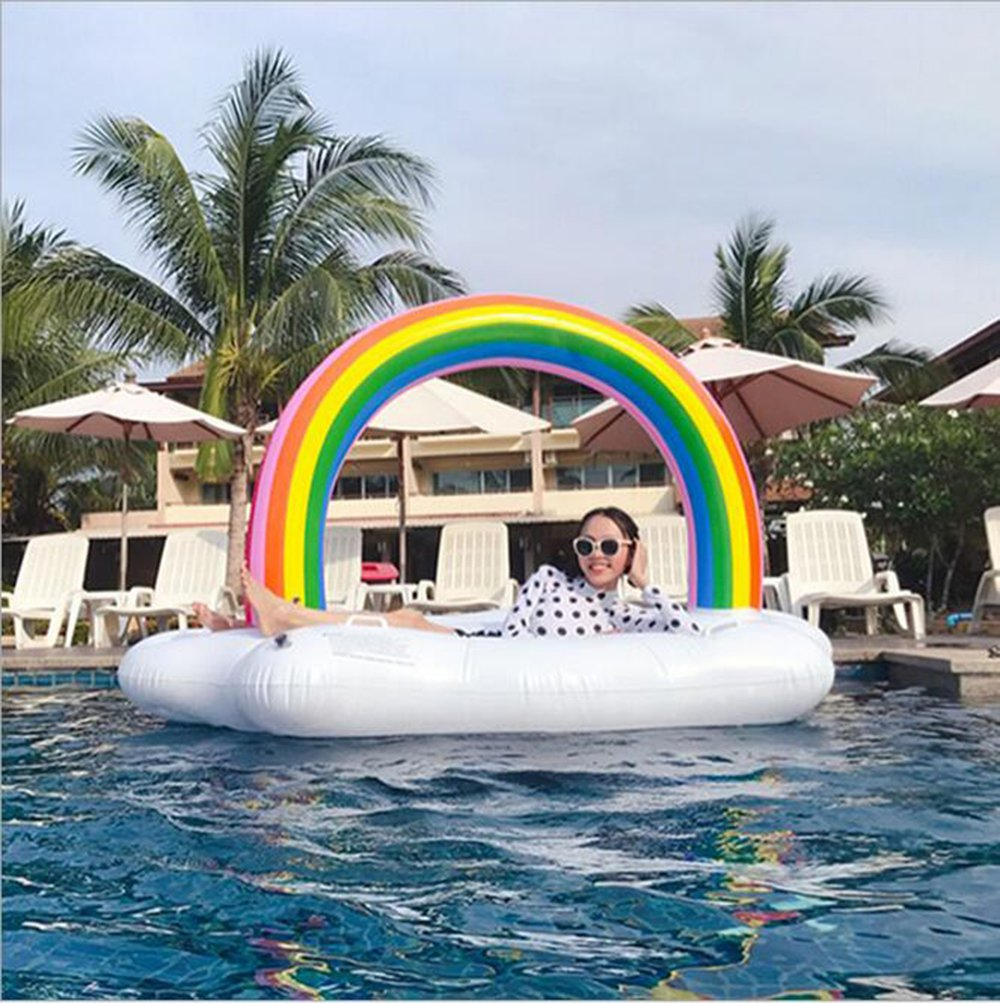 Amazon.com : LILINA Giant Inflatable Rainbow White Clouds, Inflatable Floating Row, Kabel Swimming Pool Inflatable Seat, PVC Inflatable Floating Bed, ...