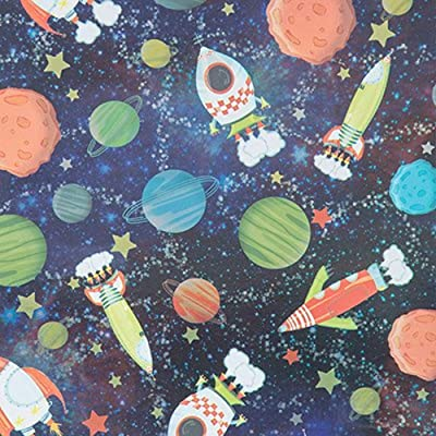"Galactic Fun Gift Wrapping Paper Roll - 24"" x 15': Health & Personal Care"