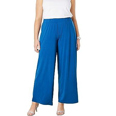 8cfa172fd6e Jessica London Women s Plus Size Travel Knit Wide Leg Pants - Cobalt Blue