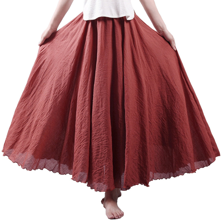 Rust Red Nicetage Women Retro Elastic Full Length Pleated Maxi Long Skirt