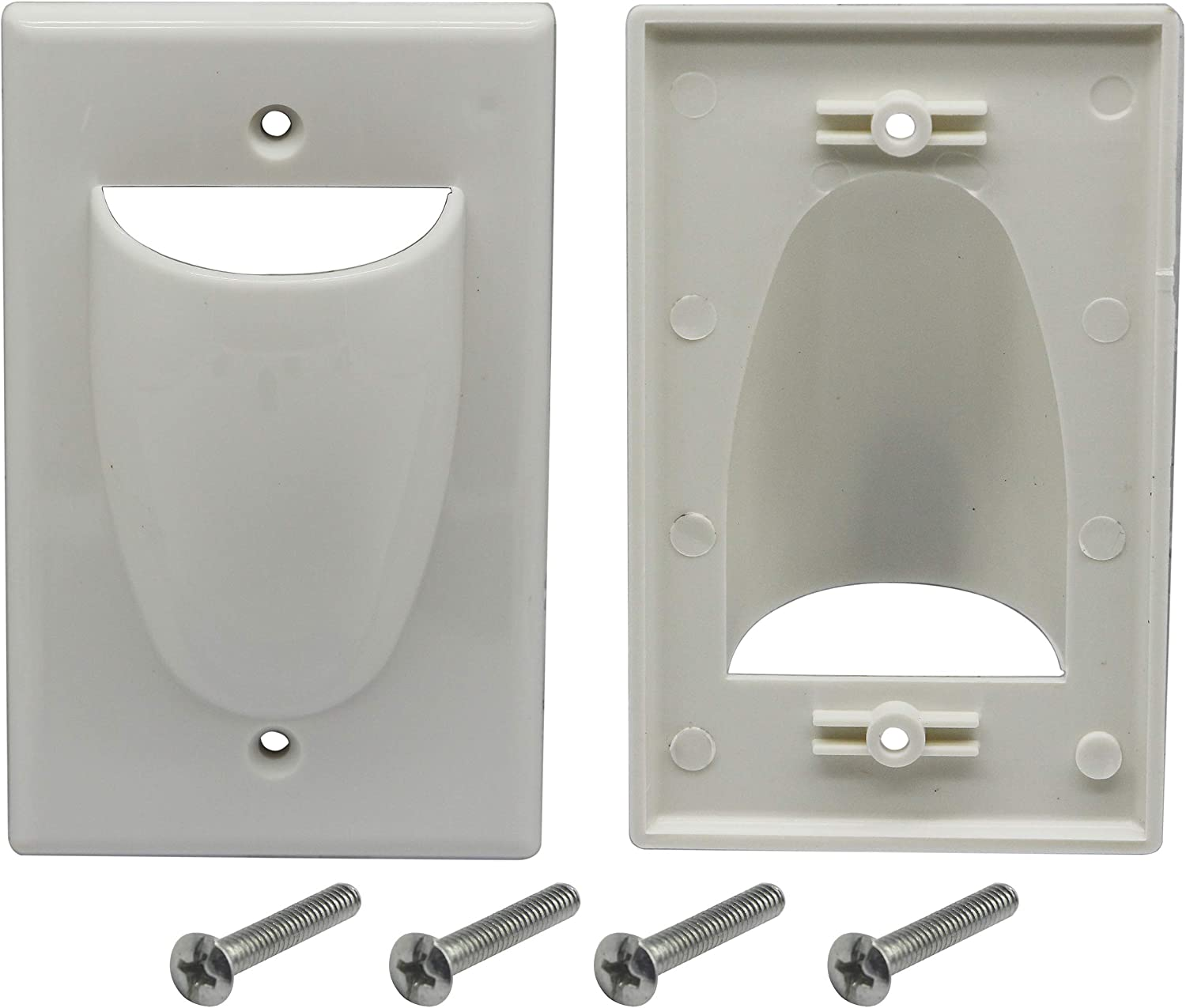 DataComm Recessed Bulk Cable Wall Plate w Power Great for TV HDMI Sleek Install