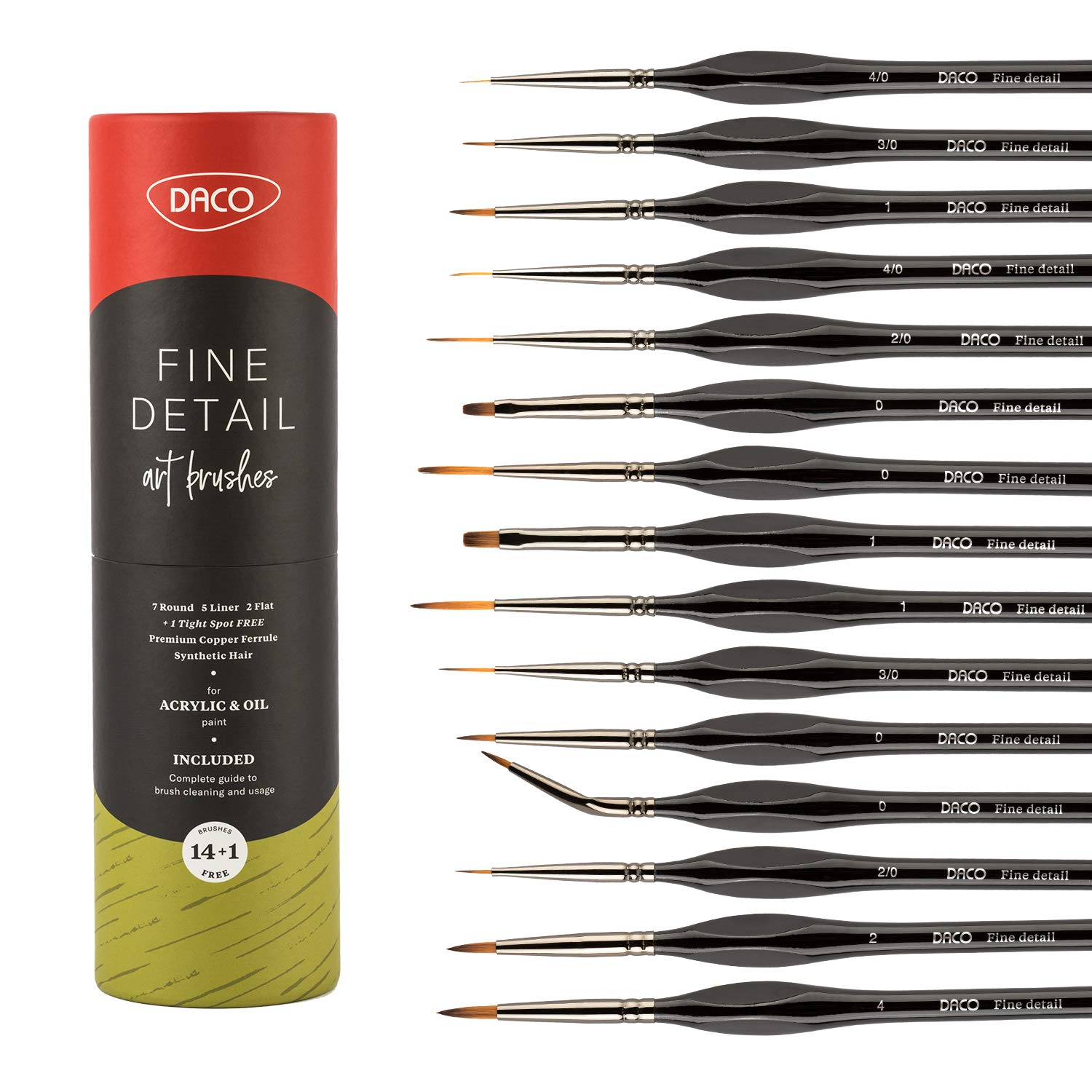 DACO Detail Paint Brush Set | 14pcs +1 Fine Miniature Paint Brushes Kit with Ergonomic Handle, Holder and Travel Bag (for Acrylic, Oil, Watercolor, Art, Scale Model, Face, Paint by Numbers for Adults)
