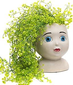 Head Planter Pot – Face Planters for Indoor and Outdoor Plants – Unique Garden Planters – Resin Succulent Face Planter for Succulents – Open Blue Eyes Female Head Planter – Unusual Pots for Plants