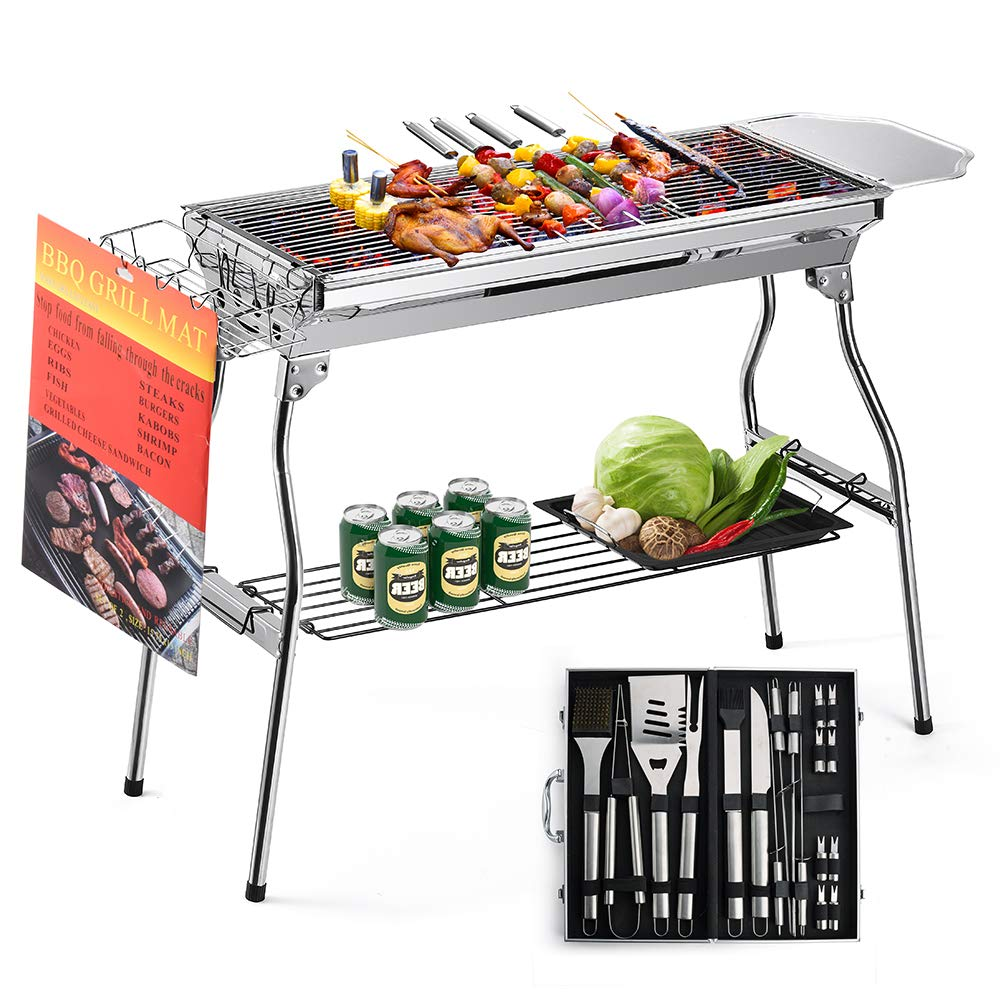 Glotoch Express Portable Stainless Steel Charcoal Barbecue Grill with 20pc Heavy Duty BBQ Grill Tool Set with Cooler Bag for Men in Aluminum Case