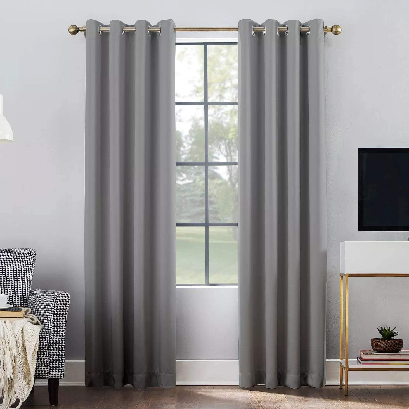 Set of 2 Panels 100 Blackout,Soft and Silky Curtains Thermal Insulated