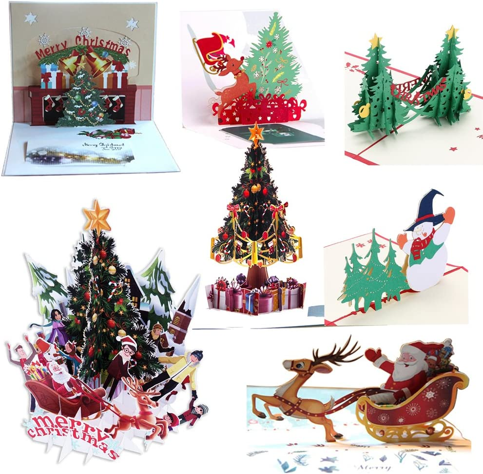 Pop Up Cards,YoungSZ 3D Christmas Card Set of 6 Pack Unique 3D Holiday New Year Xmas Greeting PostCards with Envelopes,Handmade Thank You Card Gifts,Snowflake,Tree,Snowman,Reindeer