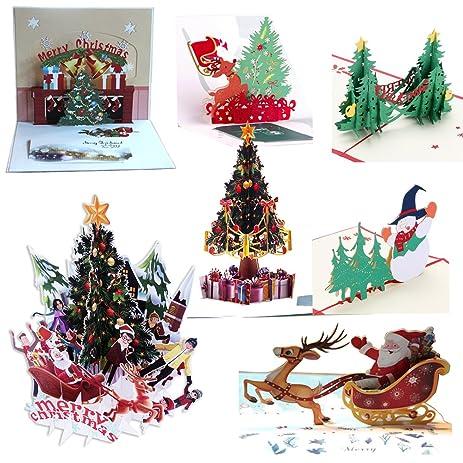 Amazon 7pcs 3d pop up colorful christmas greeting cards merry 7pcs 3d pop up colorful christmas greeting cards merry christmas cards handmade holiday xmas cards m4hsunfo