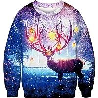 IYOWEL Unisex Crew Neck 3D Digital Printed Ugly Christmas Pullover Sweatshirts