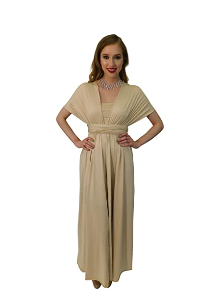 65ca692bc24c 4Now Fashions Infinity Dress Long Bridesmaid Dress Prom Formal Convertible  Multiway (Champagne): Amazon.ca: Clothing & Accessories