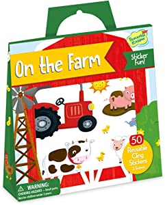 Peaceable Kingdom Reusable Sticker Totes: On The Farm - 2 Sticker Scenes & 50 Reusable Cling Stickers in a Carry Tote - Great for Trips, Errands & on The go! - Fun Quiet time Activity for Kids
