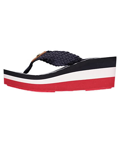 09a77808f Tommy Hilfiger Women s Mariah 3D Textile Wedge Sandal Midnight-Midnight-3.5   Amazon.co.uk  Shoes   Bags