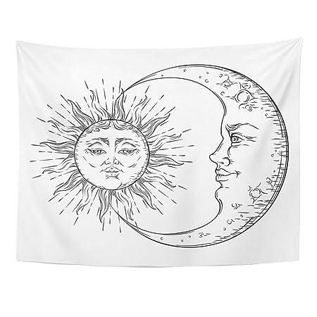 Tapiz Astrología Estilo Antiguo Sol y Luna Media Luna Boho Chic ...