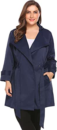 Involand Womens Plus Size Light Weight Hooded Trench Coat Jacket with Belt