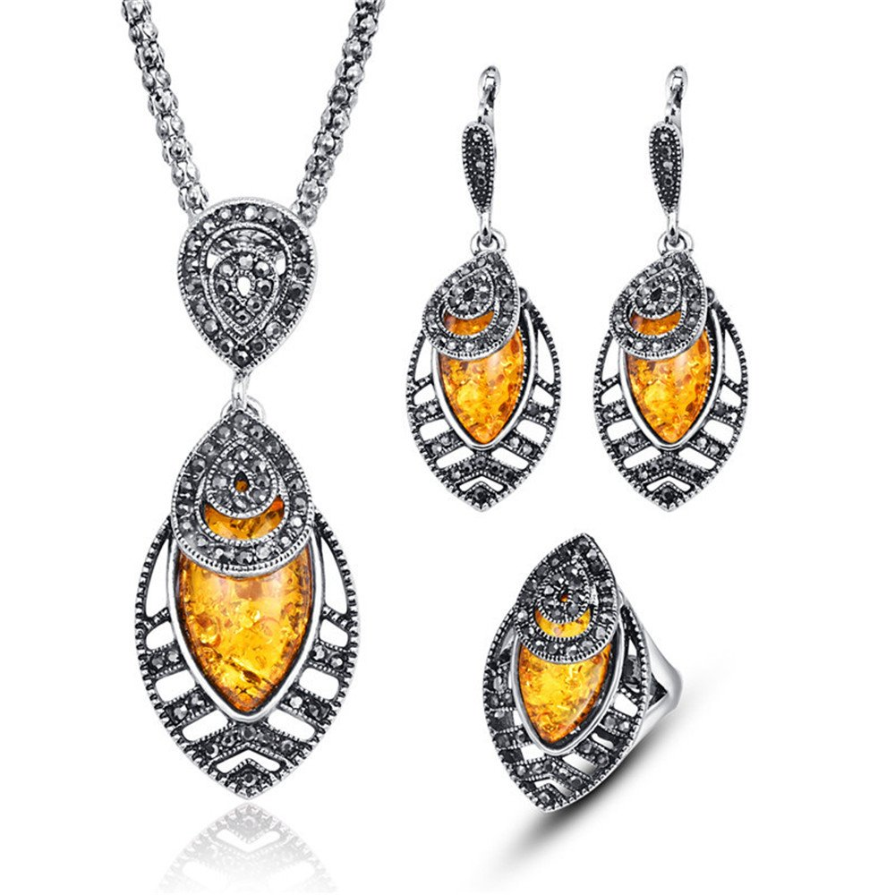 LUYUAN JEWELRY Vintage Women Oval Multi Colors Amber Pendant Jewelry Set, Fashion Wedding Bridal Jewelry Set of 3 - Yellow+Ring#8