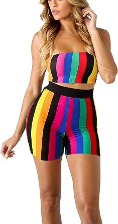 2Pcs Women Colour Block Casual Suit Crop Top Short Skirt Set Slim Sports Outfits