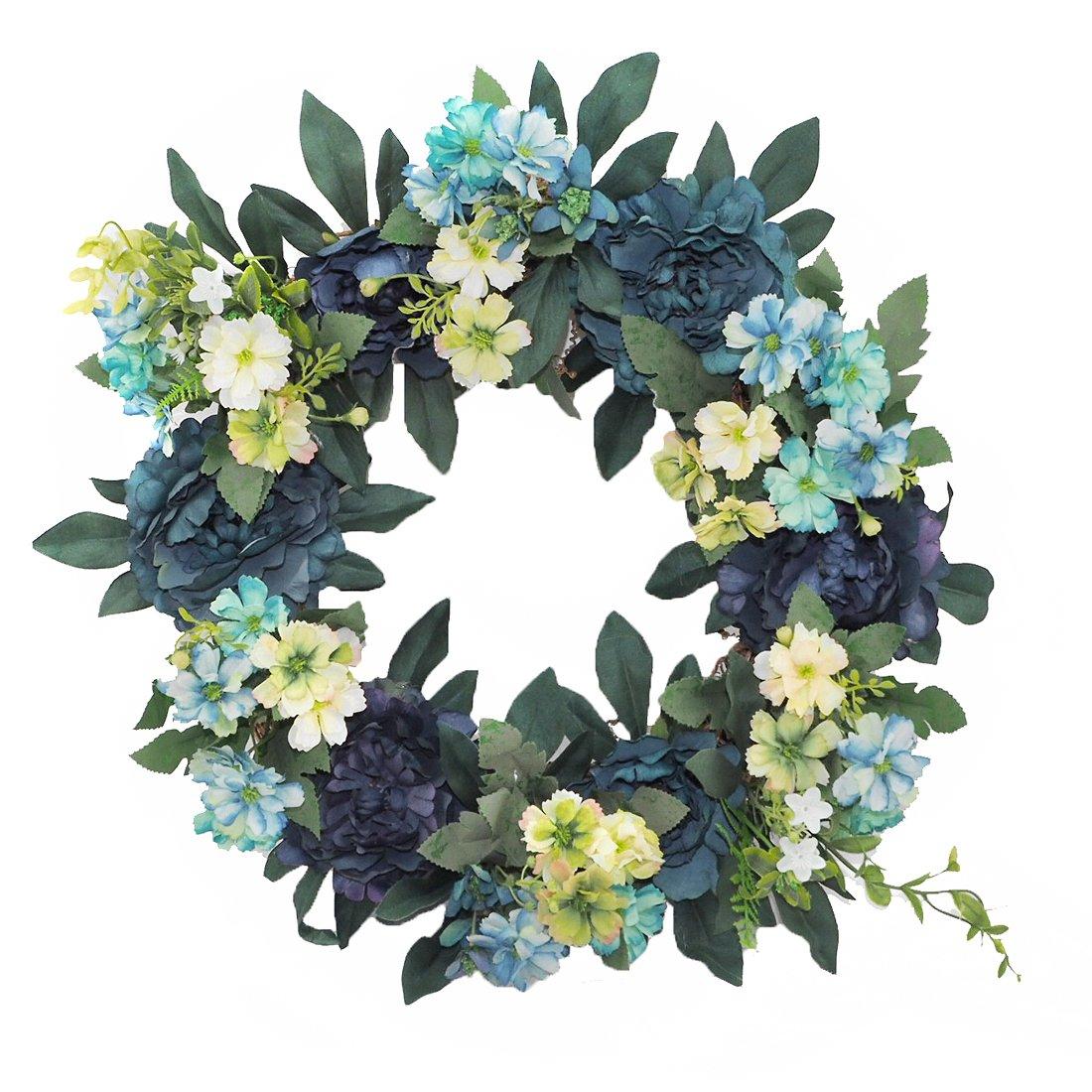 Emlyn Artificial Flower Wreath - 15'' Door Wreath Summer Wreath for the Front Door, Wedding, Home Decor (Blue)
