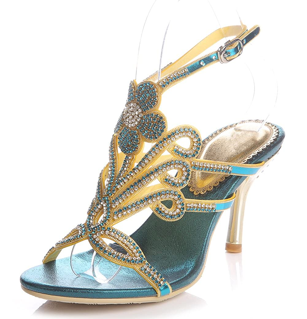 Women's Handmade Rhinestone Floral Pattern Blue Glamor Strappy High-Heel Sandals - DeluxeAdultCostumes.com