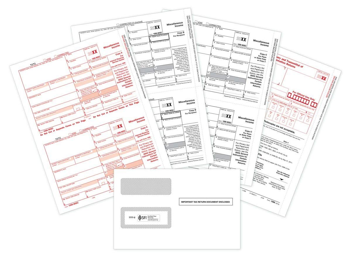 CheckSimple 2019 1099-MISC Tax Forms Bundle (3-Part Set) with 1099 Envelopes - 100 Pack for Laser Printers by CheckSimple