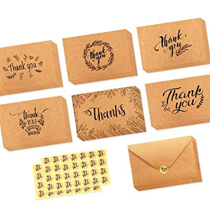 Amazon ohuhu 36 pack brown kraft paper thank you cards thank u ohuhu 36 pack brown kraft paper thank you cards thank u greeting card w 36 m4hsunfo