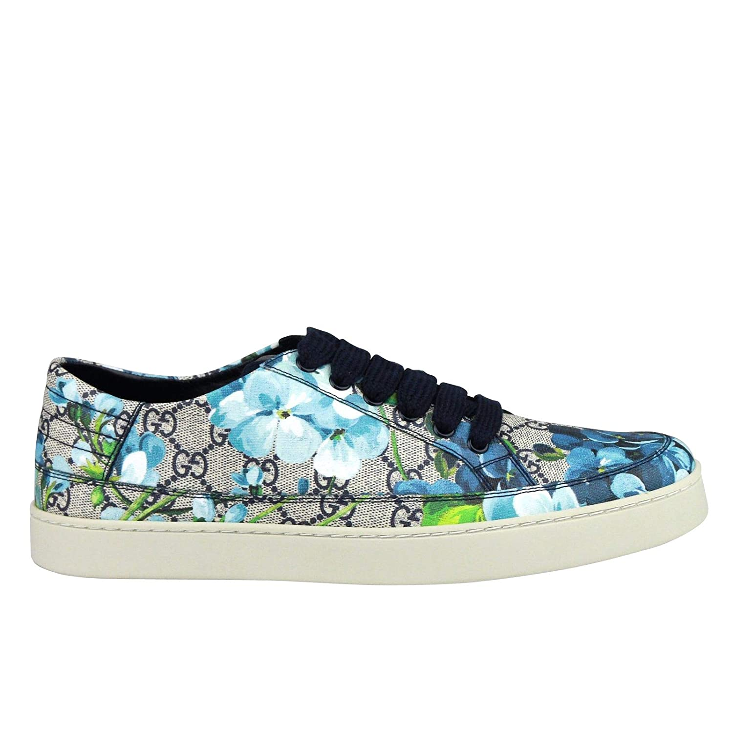 68f3226e7ff8bb Amazon.com  Gucci Bloom Flower Print Blue Supreme GG Canvas Sneaker Shoes  407343 8470  Shoes