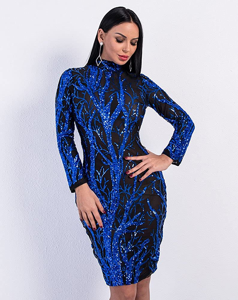 LinlinQ Women s Sexy O Neck Long Sleeve Sequin Dresses Female See Through  Tree Pattern Bodycon Dress at Amazon Women s Clothing store  8cbc96ee0b7d