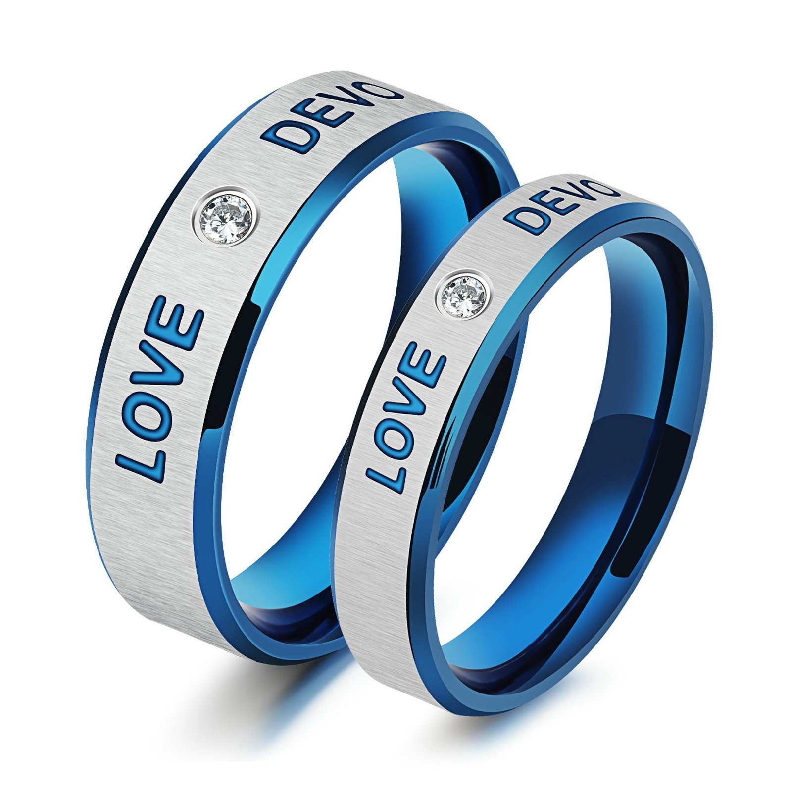 Aooaz Womens Ring Mens Ring Stainless Steel Couple Rings Wedding Band Blue Silver Love Devotion Cubic Zirconia Rings With Free Engraving Womens 7 & Mens 10 Novelty Jewelry Gift