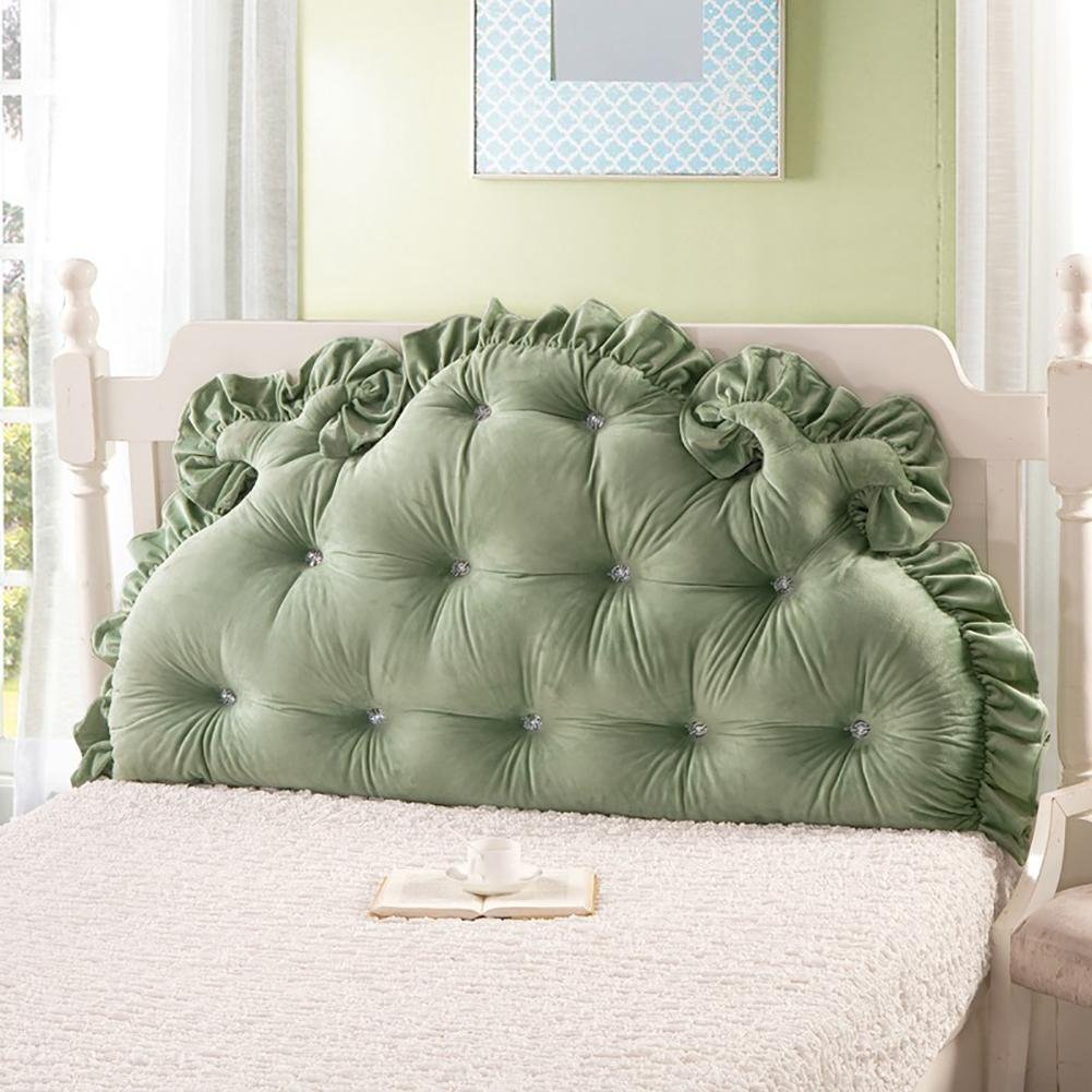 FLHSLY Bedside Big backrest Keep Warm Bedside Decoration Lumbar Support Cushions Reading Pillows Back Wedge Cushions, Green, 18085cm