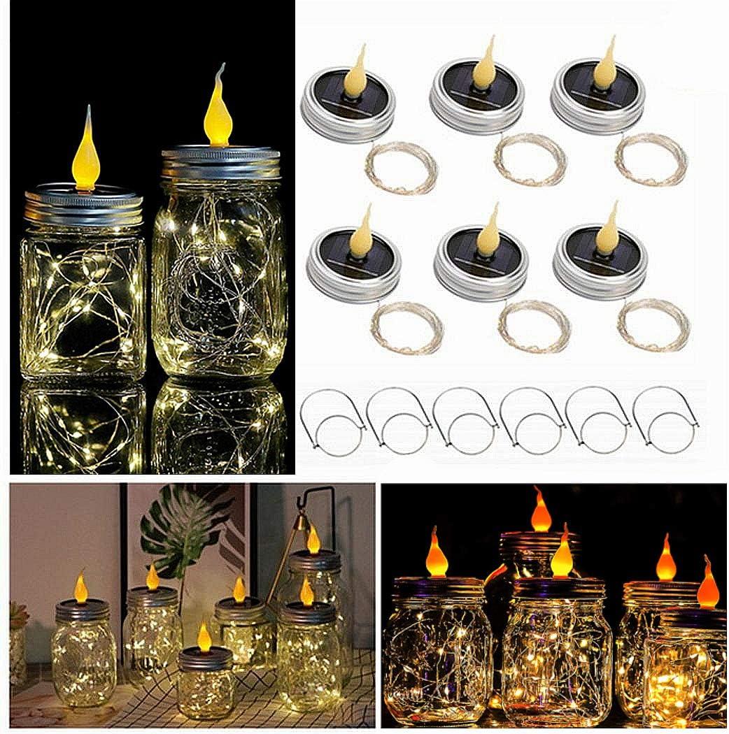 Uhomely Solar Mason Jar Lights, 6 Pack Mason Jar Candle Lights Warm While 20 Led 78Ft Lantern Lights with Hangers, Waterproof String Lid Lights for Patio Yard Porch Garden Wedding Cafe Decor, No Jars