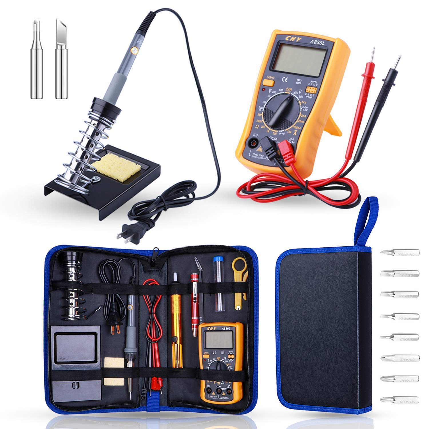 Soldering Iron Kit Electronics Rarlight 60W Adjustable Temperature Welding Tool Digital Multimeter Soldering Iron Tips Desoldering Pump Screwdriver Solder Wire Tweezers Stand Wire Stripper Cutter