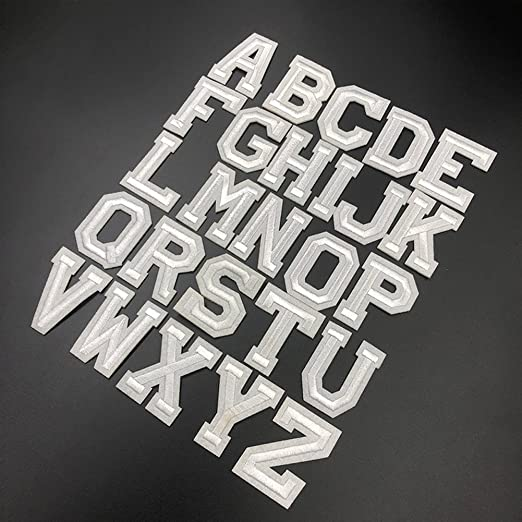 XUNHUI Wei/ß 26 Englischen Buchstaben A-Z Bestickt Motiv Applique Eisen auf Patch n/ähen Kleidung DIY Aufn/äher f/ür Kleidung Applikationen