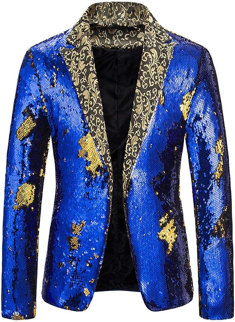 Vchomi Mens Luxury Sequin Stage Pub Dress Suit Jacket