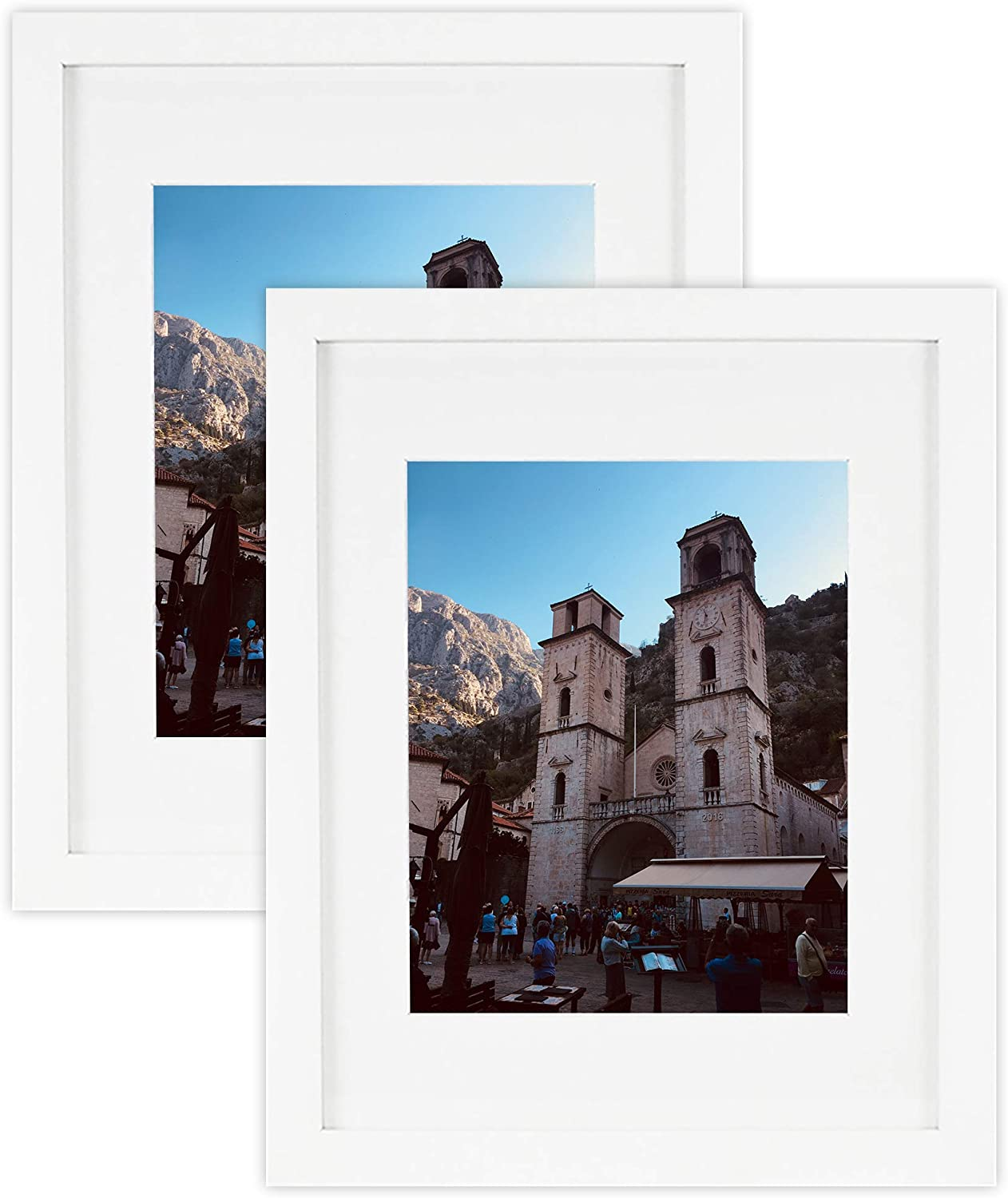 Golden State Art, Set of 2 White Photo Wood Frame 11x14 with Real Glass Mat for 8x10 Picture
