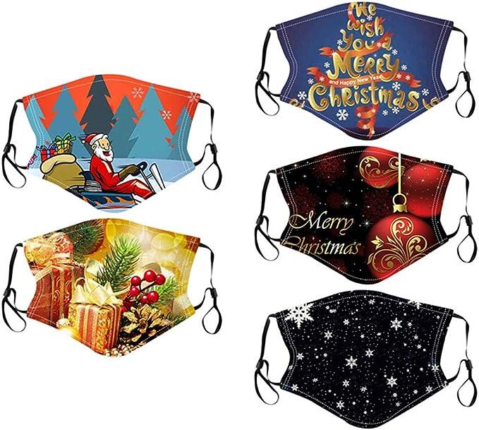 HuaMore 5PC Tela De Algod/ón Lavable para Unisex Mujeres Hombres Impresi/ón de Navidad Transpirable Lavable Reutilizable