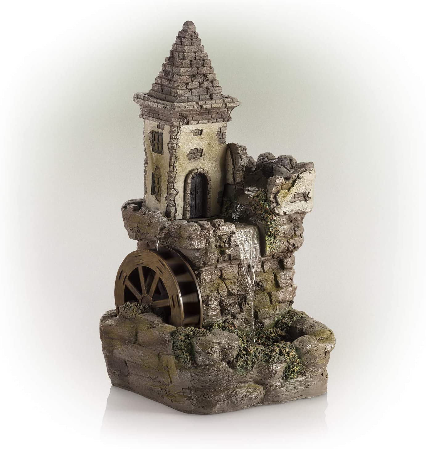 Alpine Corporation USA1164 Fairy Village Waterwheel Tiered Fountain, 35 Inch Tall, Multicolor