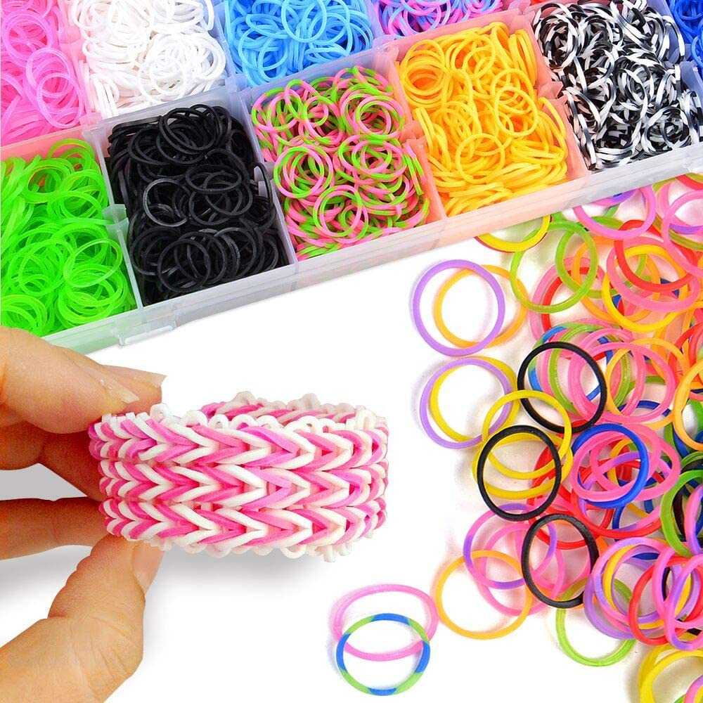 Include: 2700 Rainbow Rubber Bands Pony Beads Lovely Charms Multifunction Hook VICOVI 2900+ Rainbow Rubber Bands MEGA Refill KIT S-Clips,Nail Decals,Letter Beads Fashion Hair Clips