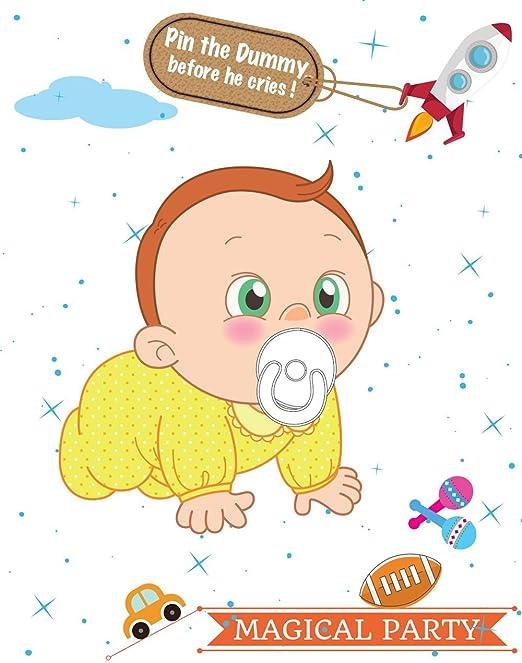 Pon el chupete en el bebé, juegos de baby shower, juegos de ...