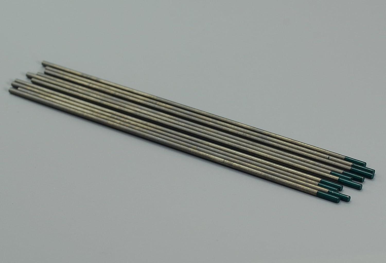 Paquete de 10 Soldadura TIG pura Electrodos tungsteno Verde WP 3,2mm x 150mm