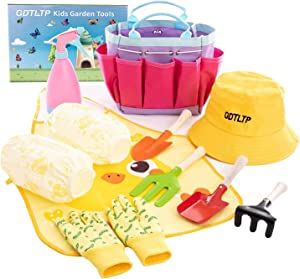 GDTLTP Kids Garden Tools Set, 8 Pieces Toddler Gardening Set for Kids, Gardening & Backyard Toys Set with Fork, Rake, Shovel, Trowel, Cotton Hat, Spray Bottle, Garden Bag, Cotton Gloves (Type A)