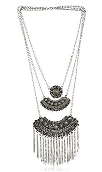 49148e8c8d Buy Aabhu Afghani Designer Turkish Style Vintage Oxidised German Silver  Tribal Necklace Pandeant Antique Jewellery Set For Girls & Women Boho Gypsy  Online ...