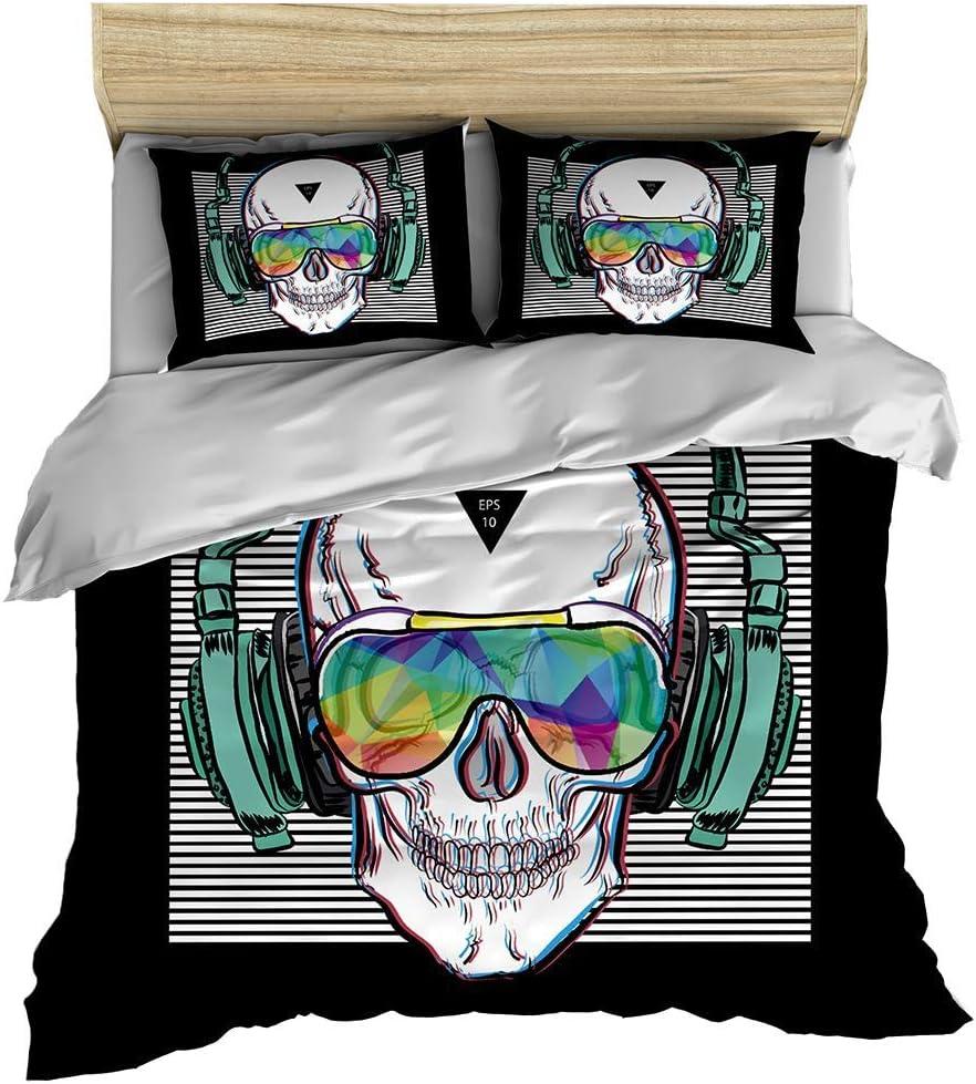 feelyou Music Skull Bedding Set King 3 Pieces Digital Print Skull Bones Bedding Set Punk Rocker Headphones Skeleton Comforter Cover Decorative Microfiber Bedspread Cover with Pillow Shams Breathable