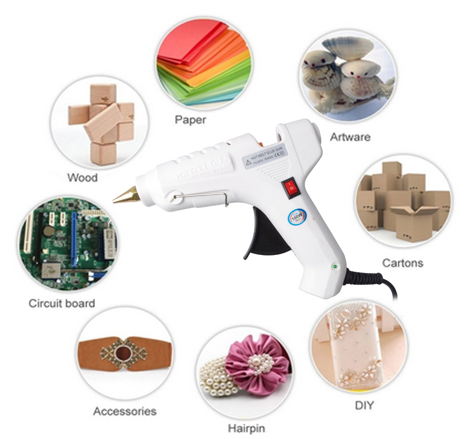 Efaithtek 100 Watt Hot glue Gun with 20PCS Melt Glue Sticks and carry bag for Arts & DIY Crafts, & Sealing and Quick Repairs in Home & Office (White) by Efaithtek (Image #3)
