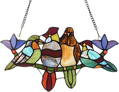 Capulina Hand-Crafted 4 Birds in Stained Glass, Bird Stained Glass Window, Stained Glass Birds Images, Stained Glass Window Hanging, Stained Glass Birds Suncatchers Window Art Panels