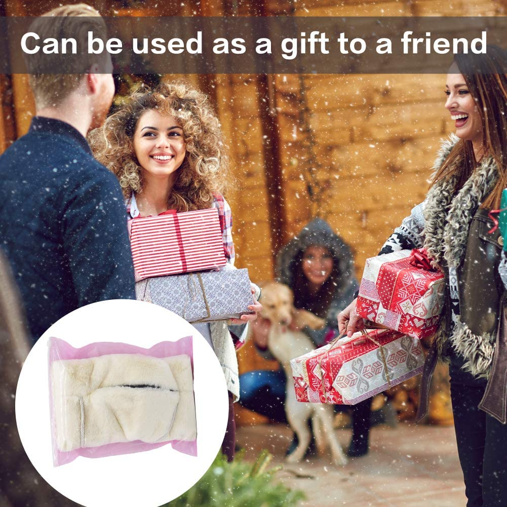 with Transparent Hook 1pcs SwirlColor Handmuff Faux Fur White Hand Muff of Strap Pocket Hand Warmer for Women 1pcs
