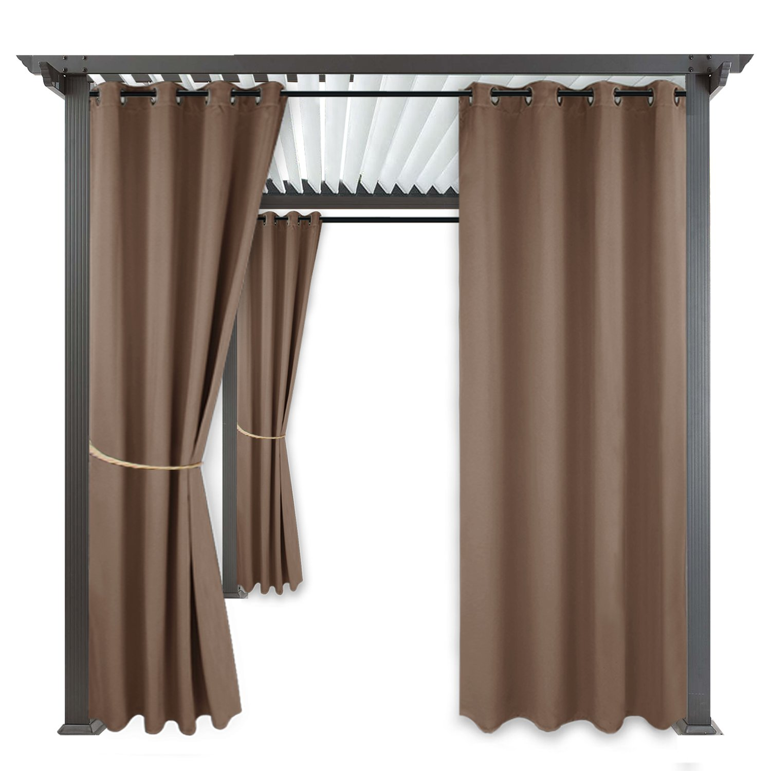 RYB HOME Balcony Curtains Outdoor - Free Standing Outdoor Privacy Curtain Exterior/Outside Curtains for Patio Light Block Heat Out Water Proof Drape, Single Panel, W 52 by L 108'', Mocha